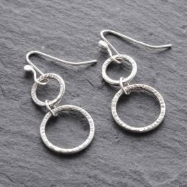 Sterling Silver Textured Rings Earrings