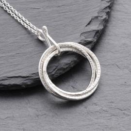 Sterling Silver Russian Rings Pendant Medium
