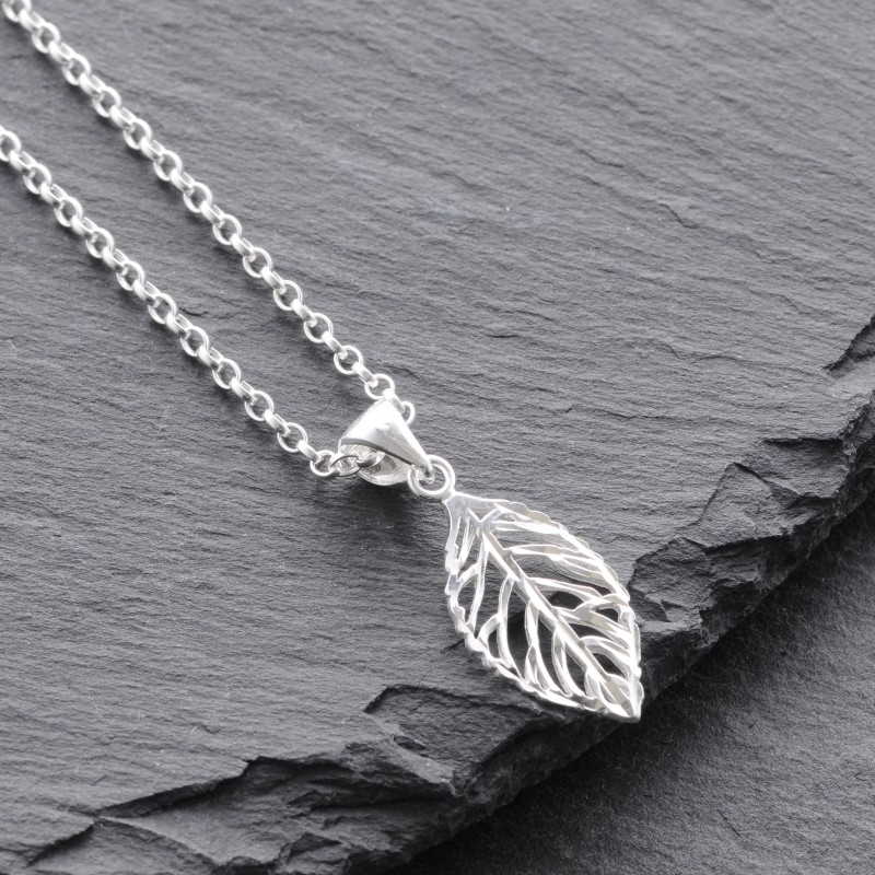 Sterling silver leaf pendant mozeypictures Image collections