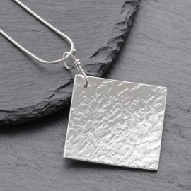 Sterling Silver Textured Square Pendant